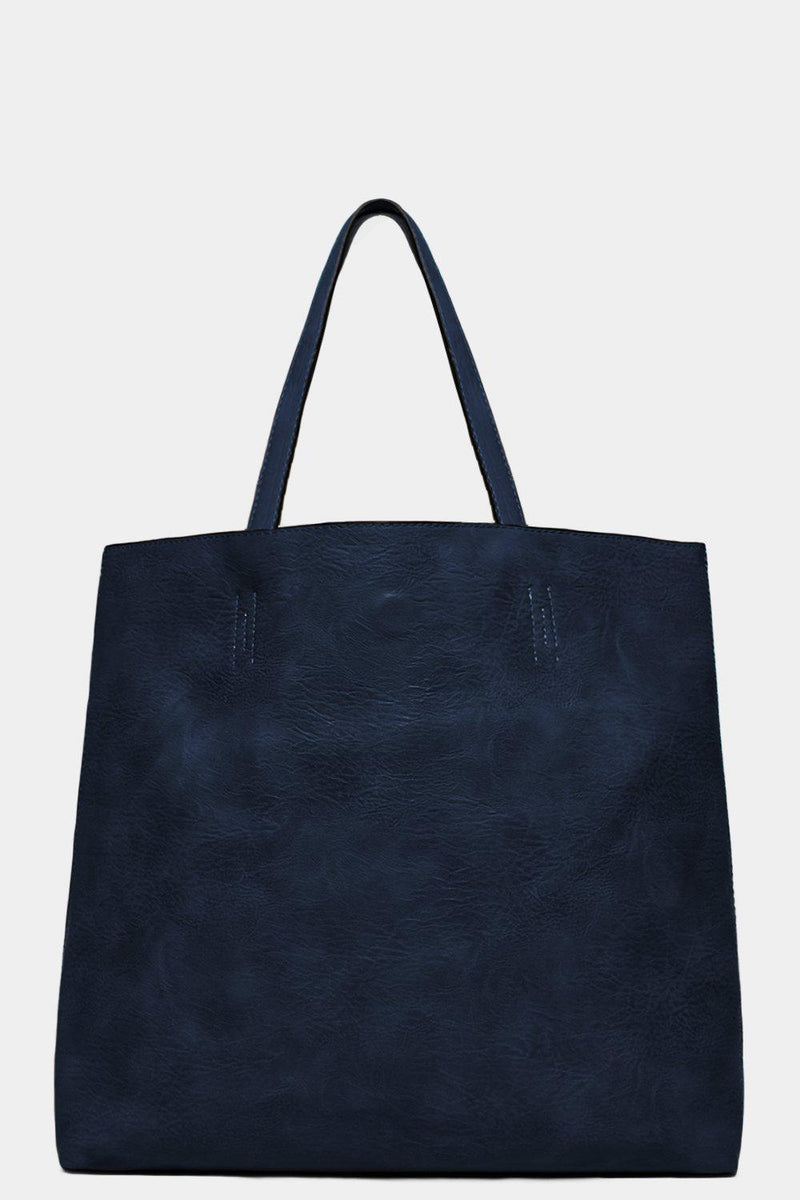 Navy Bow Charm Large Tote Bag With Medium Crossbody Bag - SinglePrice
