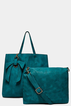 Green Bow Charm Large Tote Bag With Medium Crossbody Bag - SinglePrice