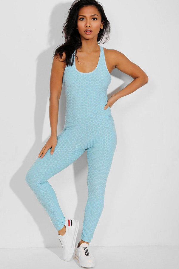 Blue Ruched Crisscross Back Catsuit - SinglePrice
