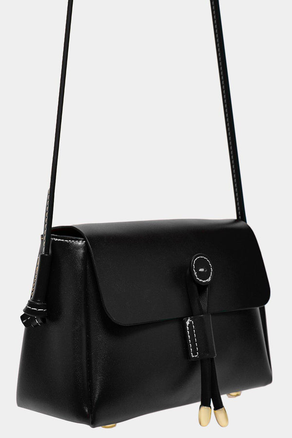 Black Button Lock Vegan Leather Mini Crossbody Bag - SinglePrice