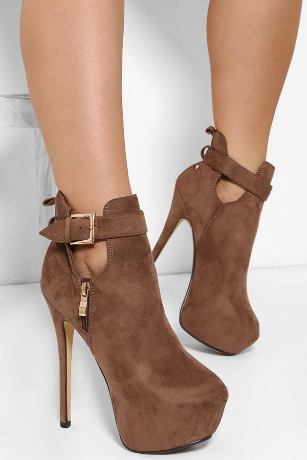 Cut Out Top Buckle Khaki Platform Ankle Boots - SinglePrice