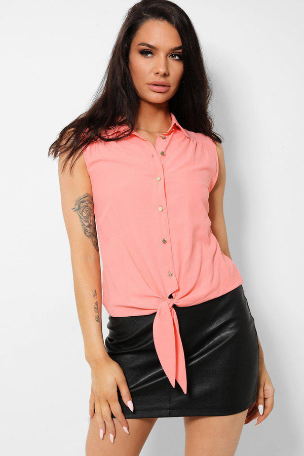 Pink Sleeveless Front Tie Shirt-SinglePrice