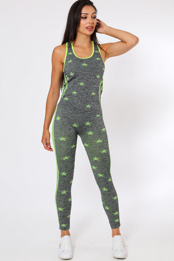 Neon Green Stars Top And Leggings Sports Set-SinglePrice