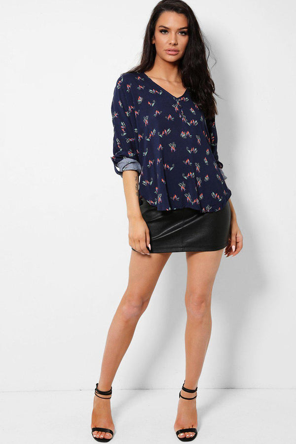 Parrots Print Navy Roll-Up Sleeves Shirt-SinglePrice