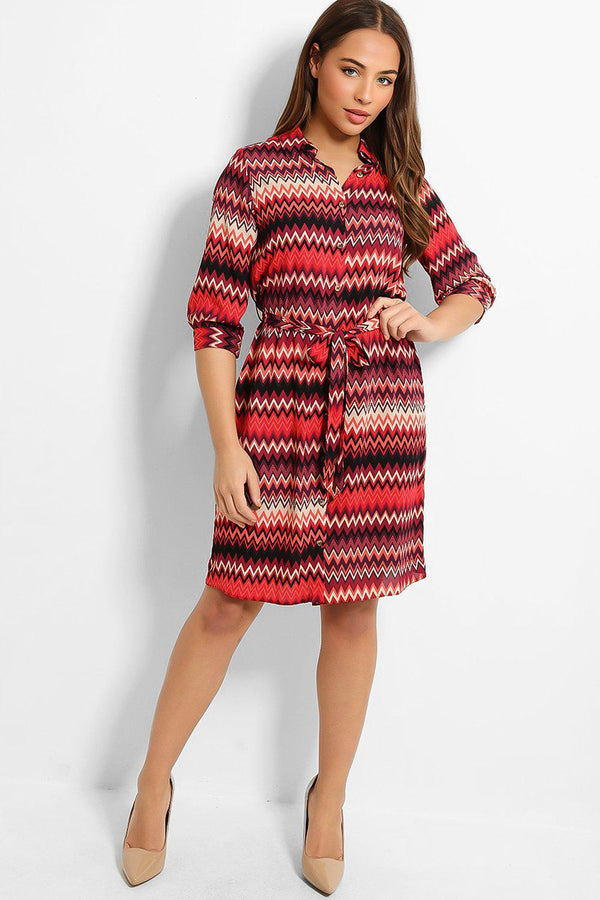 Pink Zig-Zag Print Self-Belt Midi Shirt Dress - SinglePrice