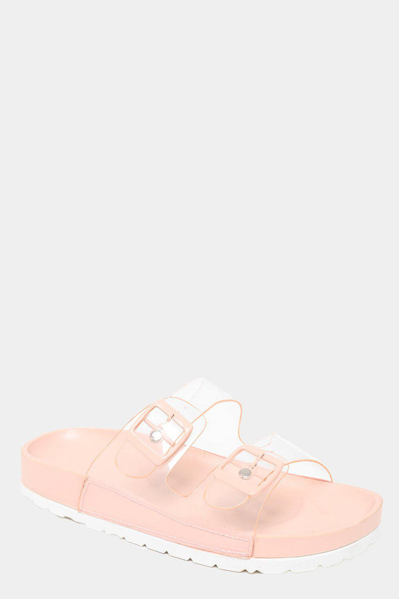 Twin Transparent Straps Pink Sliders - SinglePrice