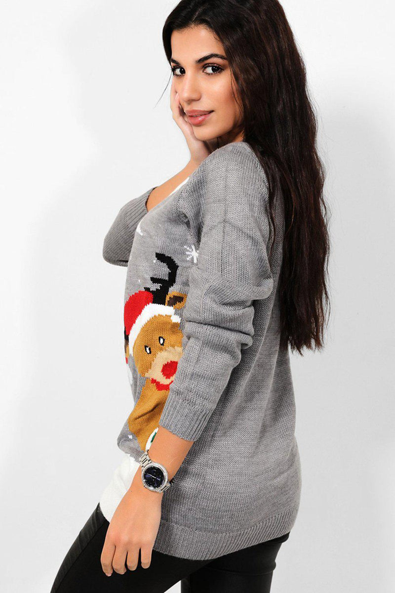 Grey Christmas Night Print Christmas Jumper - SinglePrice