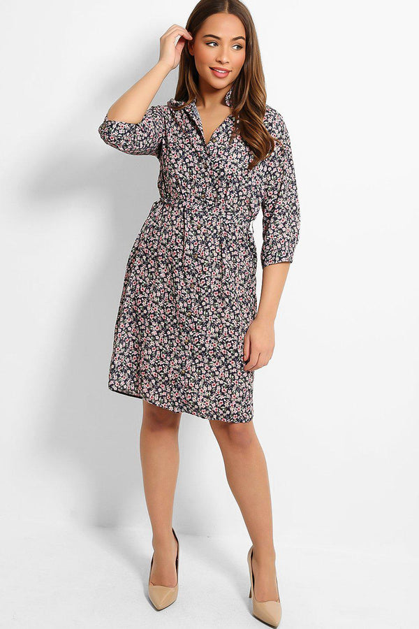 Navy Tiny Floral Print Self-Belt Midi Shirt Dress - SinglePrice