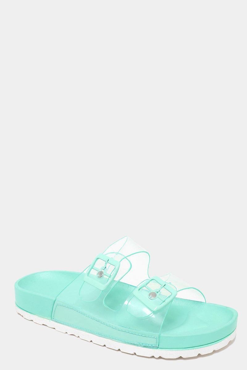 Twin Transparent Straps Green Sliders - SinglePrice