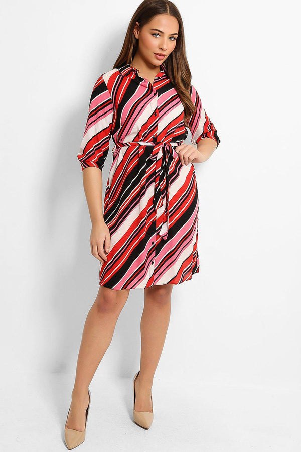 Red Black Asymmetric Stripe Print Self-Belt Midi Shirt Dress - SinglePrice