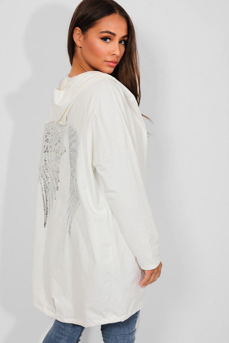 White Sequin Wings Embellished Back Open Front Hooded Cardigan - SinglePrice