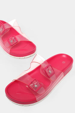 Twin Transparent Straps Rose Red Sliders - SinglePrice