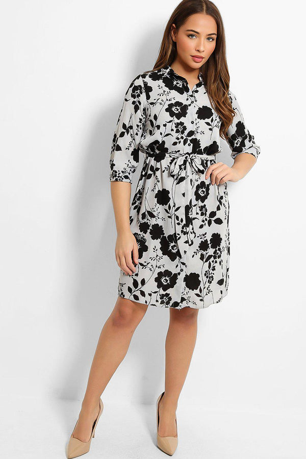 Slate Grey Floral Print Print Self-Belt Midi Shirt Dress - SinglePrice