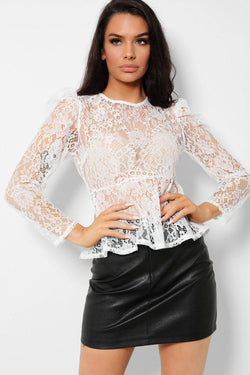 White Delicate Floral Lace Puff Sleeves Top - SinglePrice