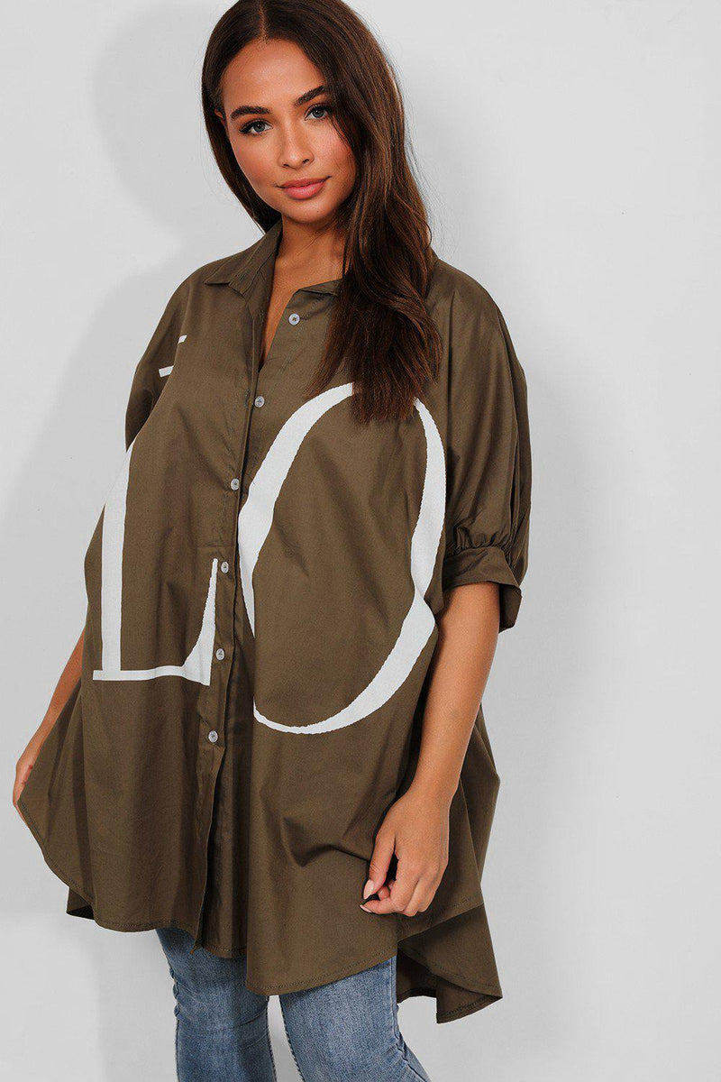 Khaki LOVE Slogan Lazy Fit Shirt - SinglePrice