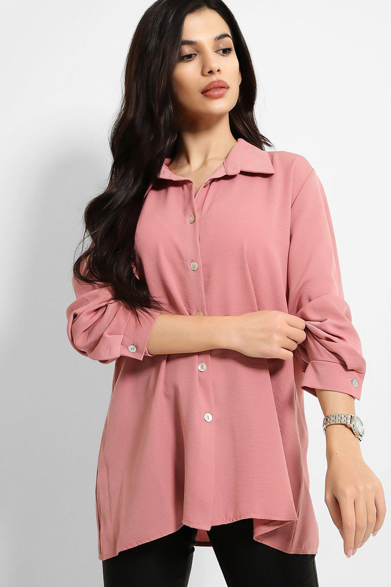 Pink Lightweight Crushed Crepe Shirt - SinglePrice