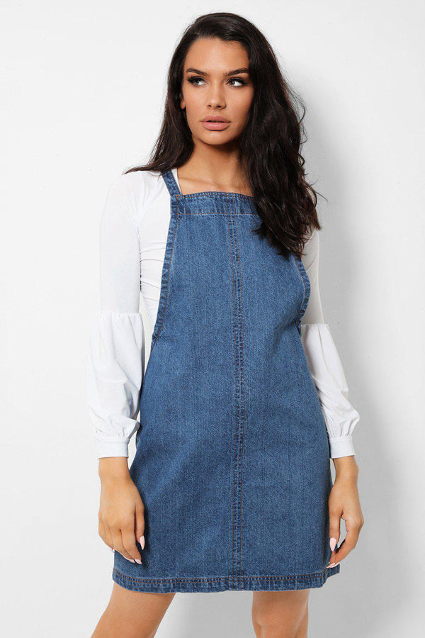 Mid Blue Denim Zip Back Mini Dungaree Dress - SinglePrice
