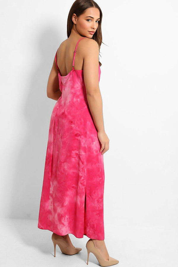 Hot Pink Tie Dye V-Neck Cami Maxi Dress-SinglePrice