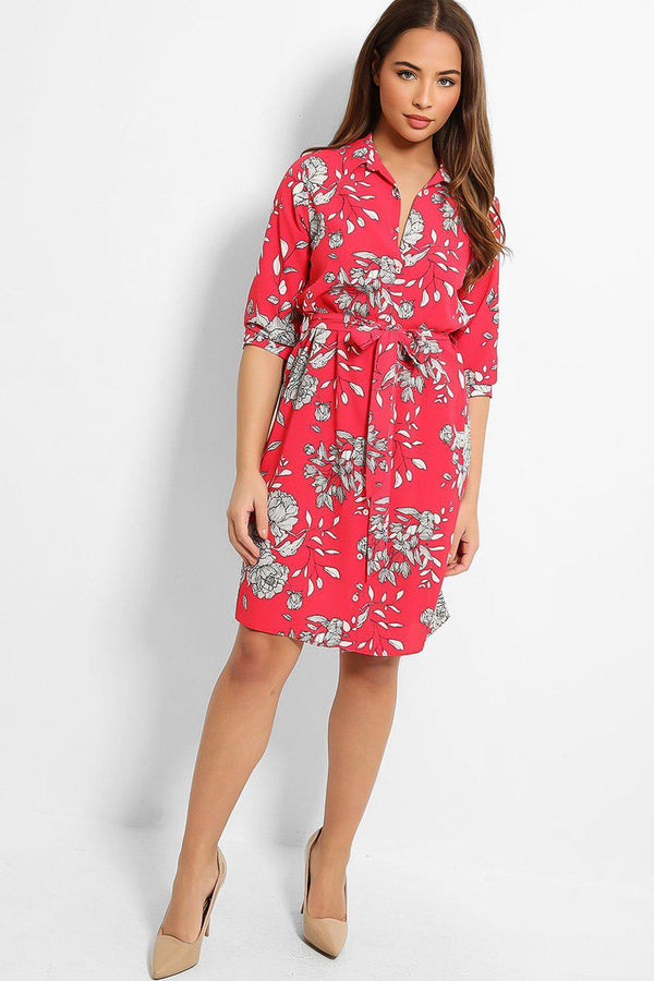 Hot Pink Floral Print Self-Belt Midi Shirt Dress-SinglePrice
