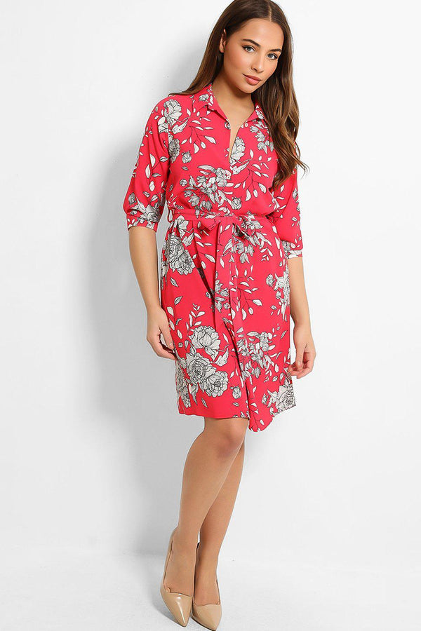 Hot Pink Floral Print Self-Belt Midi Shirt Dress - SinglePrice