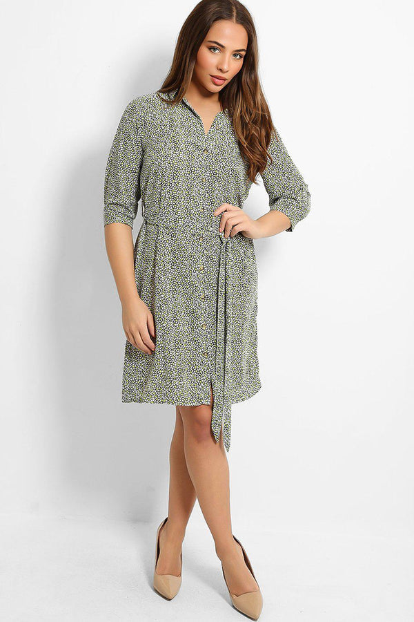 Lime Green Drops Print Self-Belt Midi Shirt Dress - SinglePrice