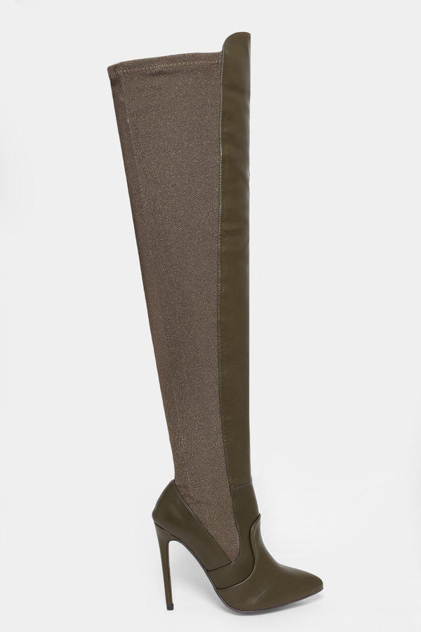 Stretchy Shimmer Panel Army Green Over The Knee Boots - SinglePrice