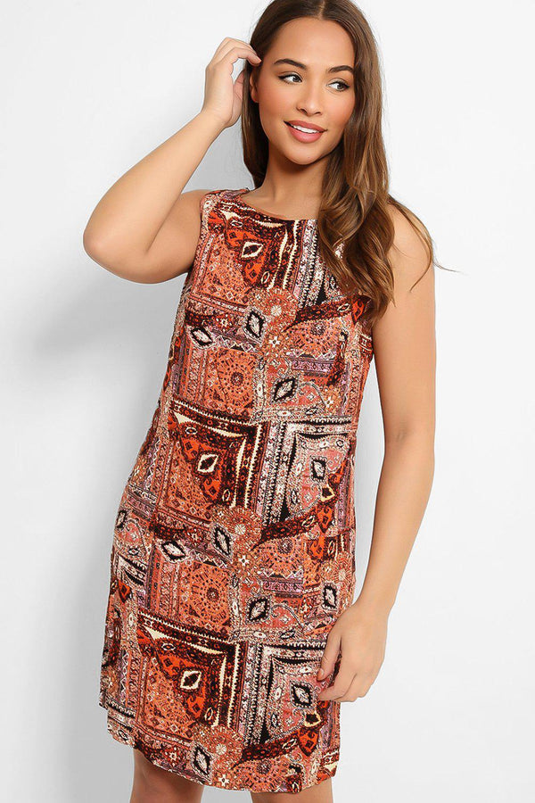 Brown Aztec Print Sleeveless Midi Dress - SinglePrice
