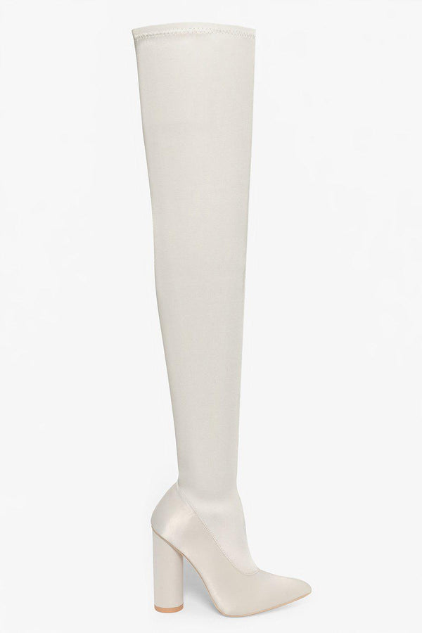 Satin Beige Over The Knee Pointy Heels-SinglePrice