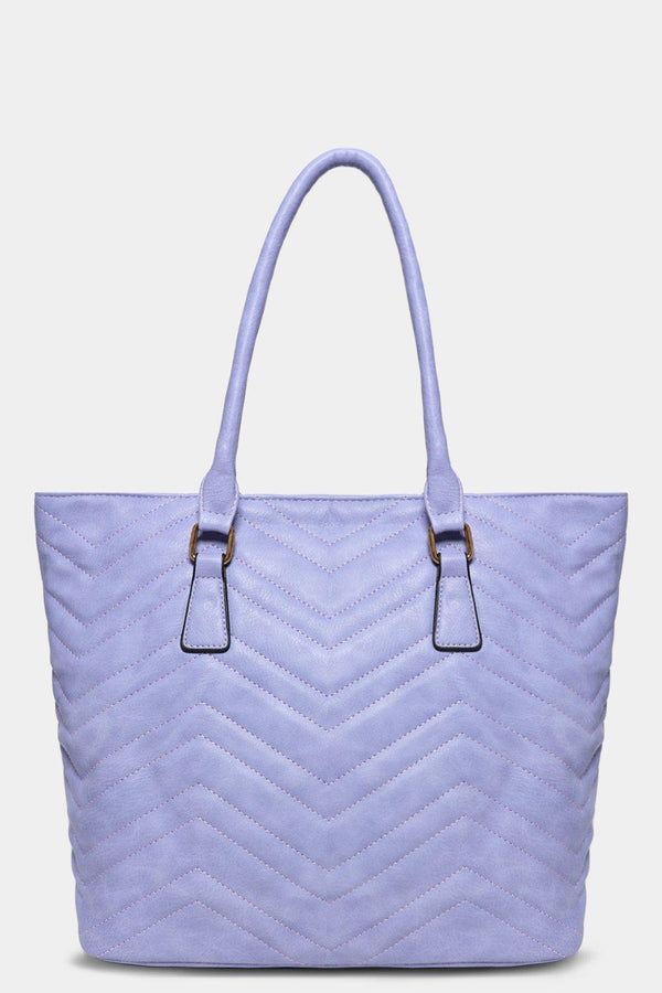 Lilac Vegan Leather Chevron Quilt Tote Bag - SinglePrice