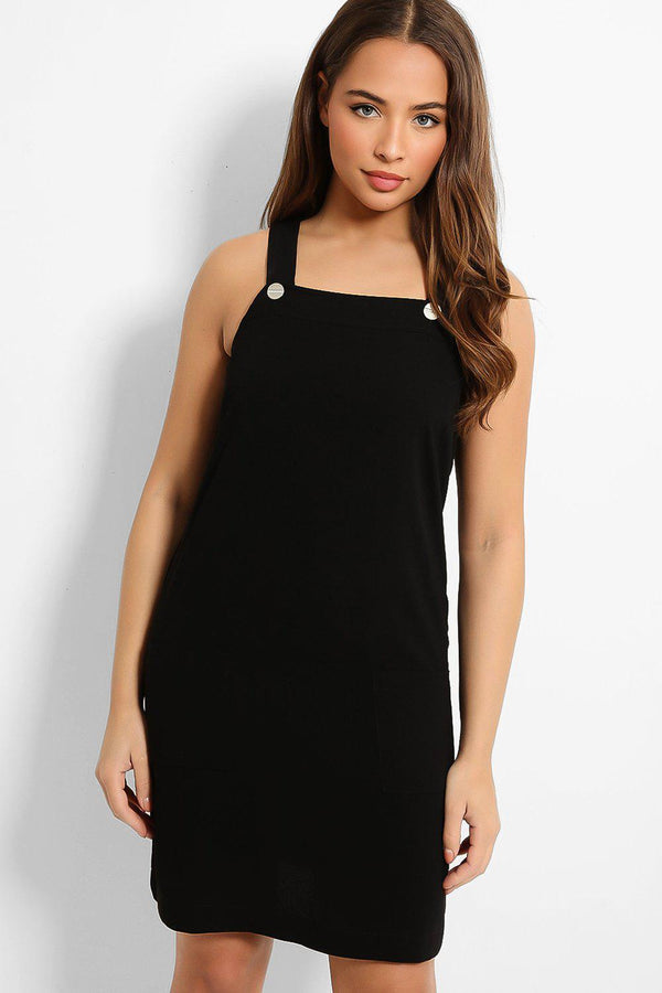 Absolute Black Button Details Pinafore Dress-SinglePrice