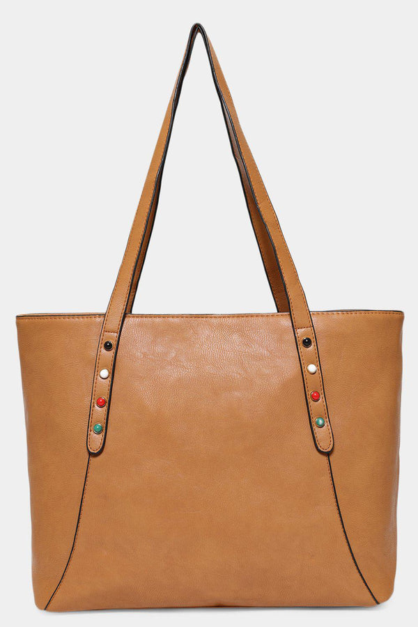 Tan Studded Large Vegan Leather Tote-SinglePrice