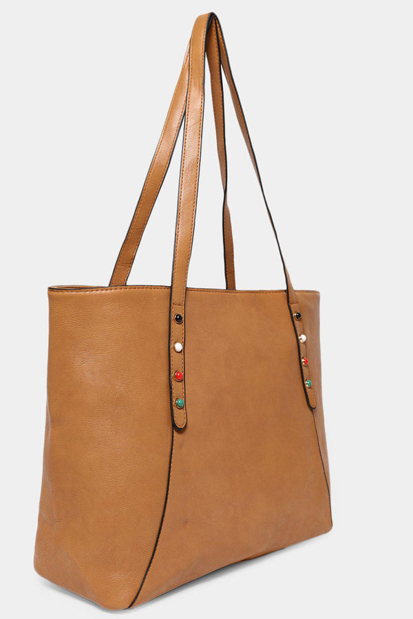 Tan Studded Large Vegan Leather Tote - SinglePrice