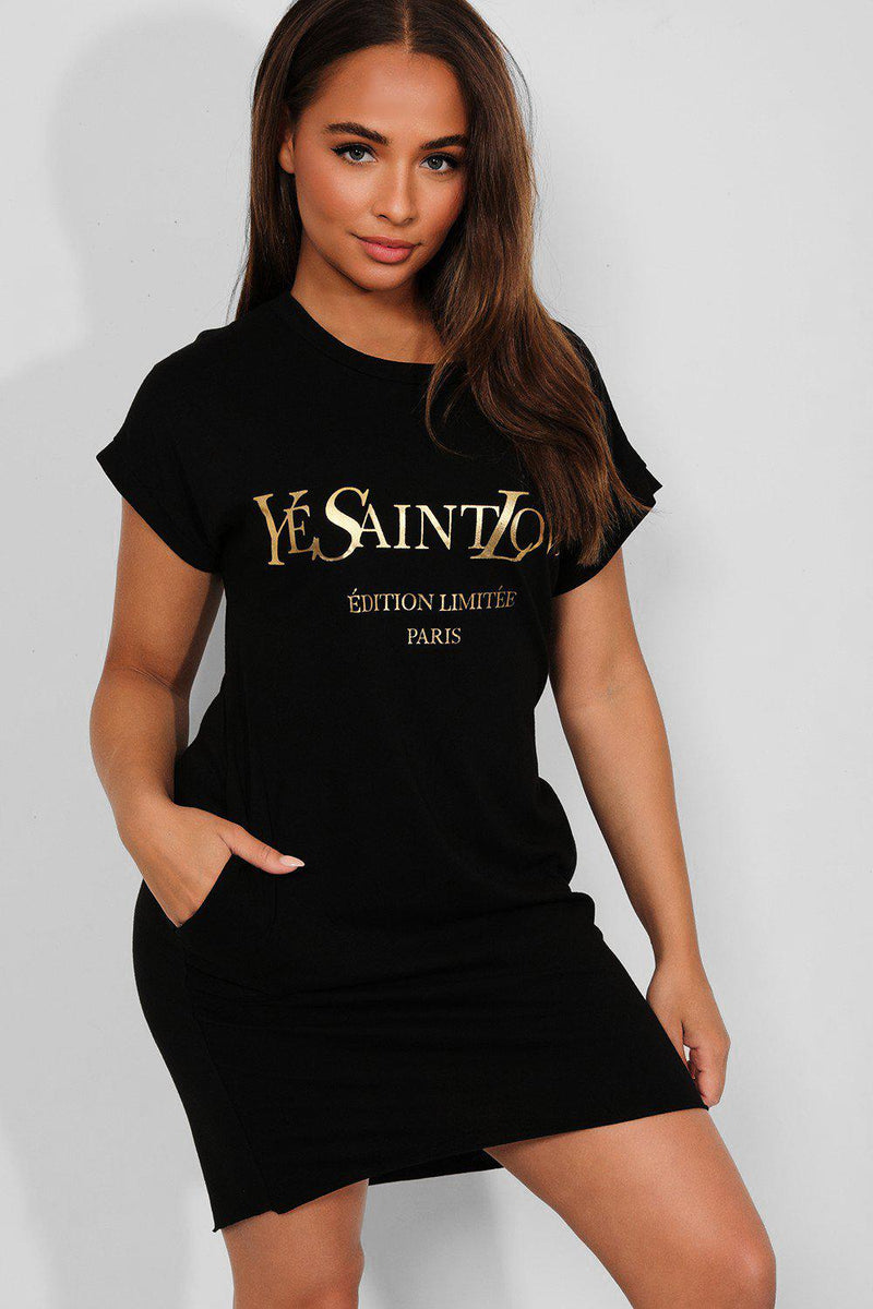 Black Gold Slogan Front Cotton Blend T-Shirt Dress - SinglePrice