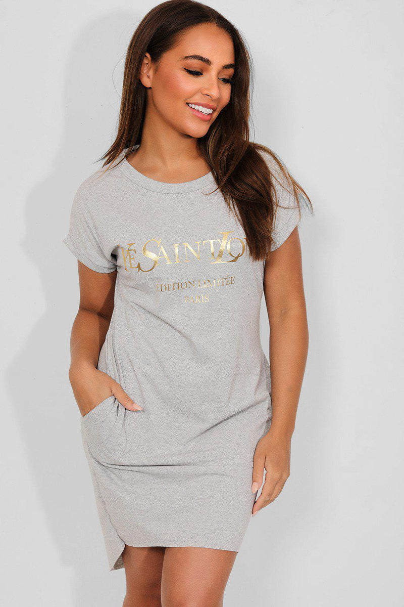 Grey Gold Slogan Front Cotton Blend T-Shirt Dress - SinglePrice