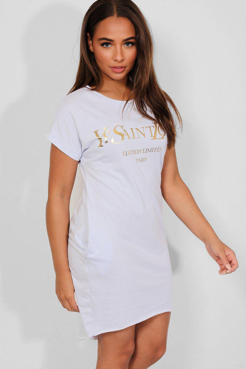 White Gold Slogan Front Cotton Blend T-Shirt Dress - SinglePrice