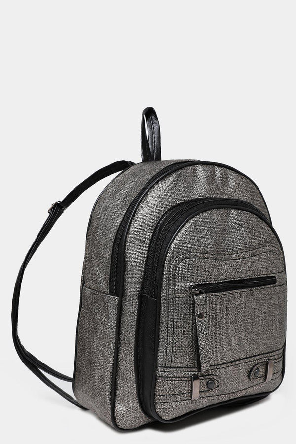 Front Pocket Textured Silver Backpack-SinglePrice
