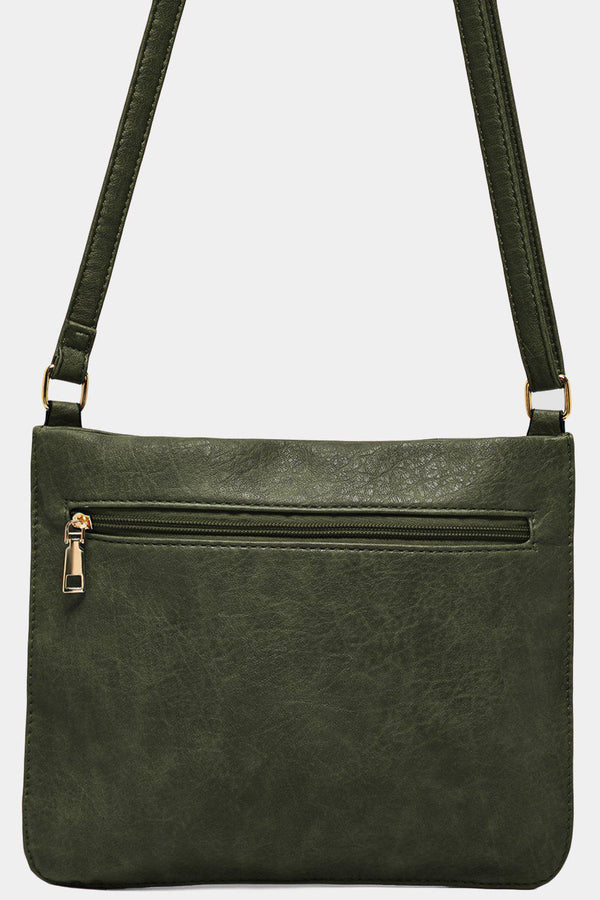 Green Twin Zip Front Flat Shoulder Bag-SinglePrice