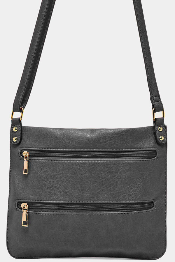 Grey Twin Zip Front Flat Shoulder Bag-SinglePrice