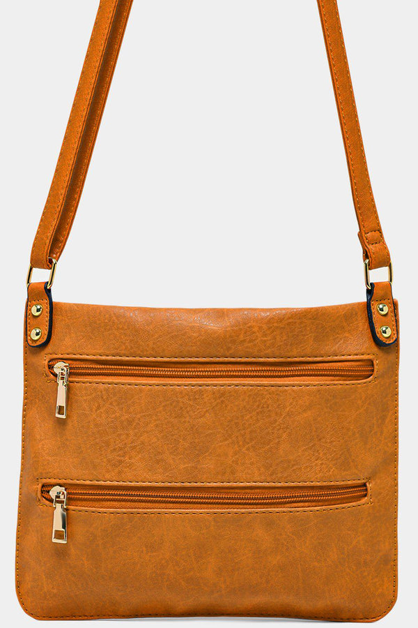 Mustard Twin Zip Front Flat Shoulder Bag-SinglePrice