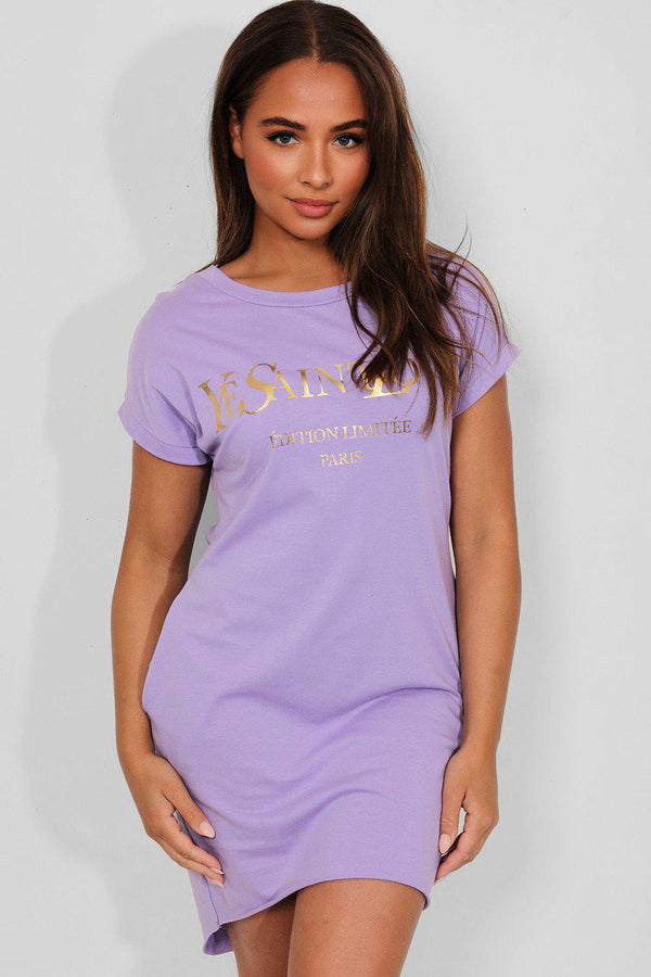 Lilac Gold Slogan Front Cotton Blend T-Shirt Dress - SinglePrice