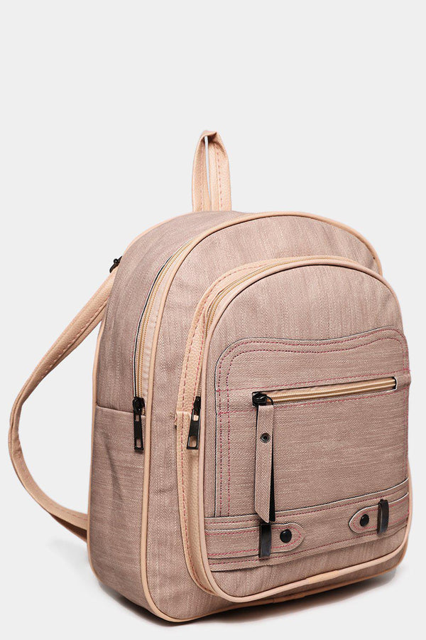 Front Pocket Textured Beige Backpack-SinglePrice