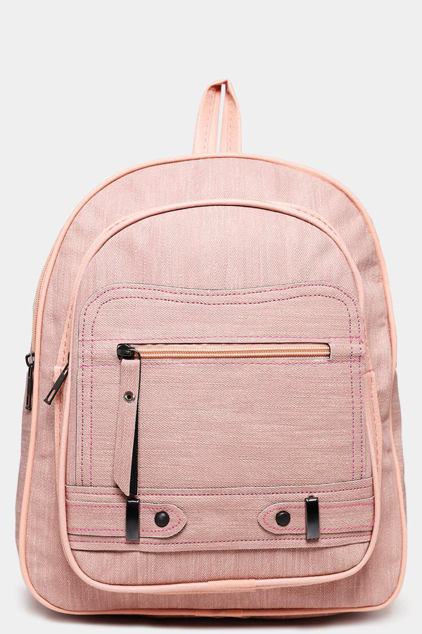 Front Pocket Textured Pink Backpack-SinglePrice