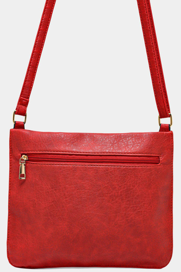 Red Twin Zip Front Flat Shoulder Bag-SinglePrice