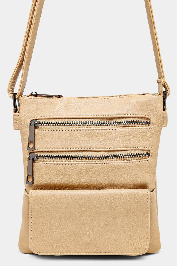 Beige Multipocket Front Messenger Bag-SinglePrice