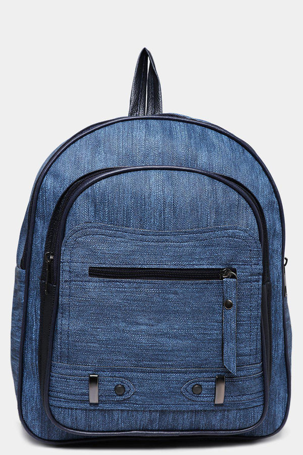 Front Pocket Textured Blue Backpack-SinglePrice