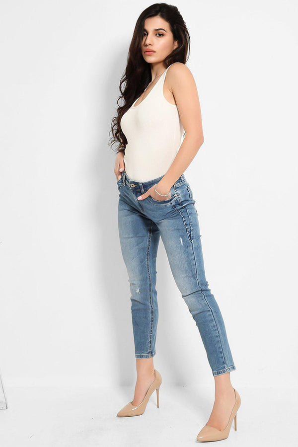 Blue Mid-Rise Distress Ankle Skinny Jeans - SinglePrice