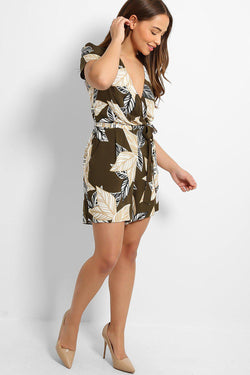 Khaki Leaves Print Wrap Self-Belt Playsuit - SinglePrice