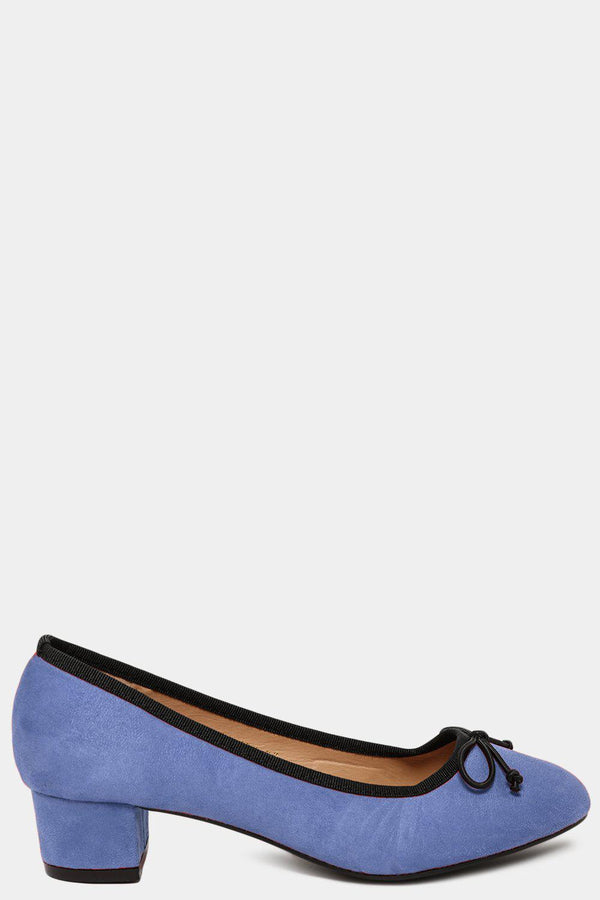 Blue Vegan Suede Bow Front Low Heel Pumps-SinglePrice