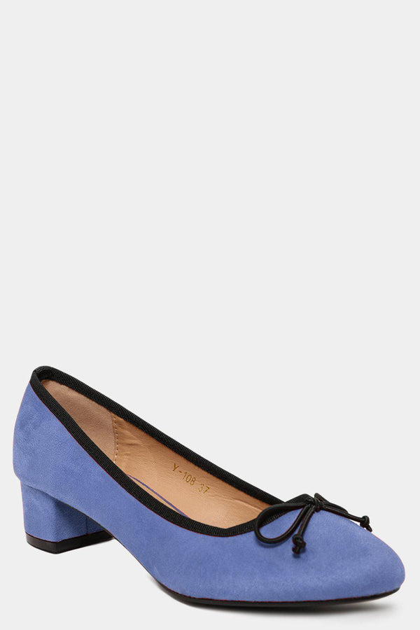 Blue Vegan Suede Bow Front Low Heel Pumps - SinglePrice