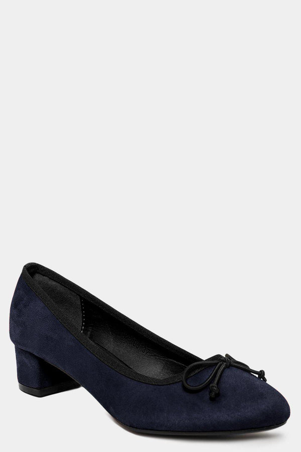 Navy Vegan Suede Bow Front Low Heel Pumps - SinglePrice